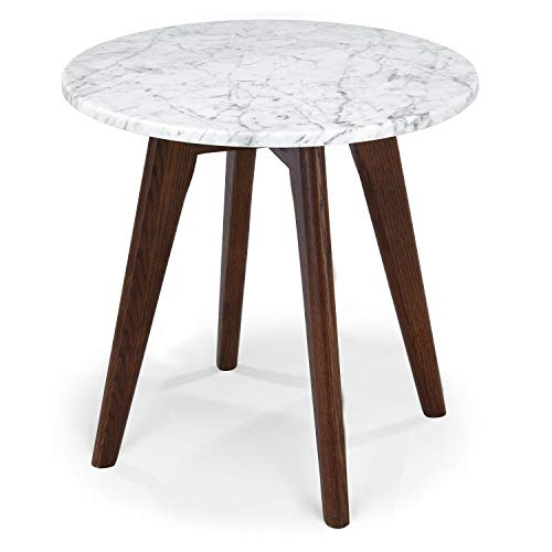 POLY & BARK EM-336-WAL Riley Marble Round Side Table, Walnut
