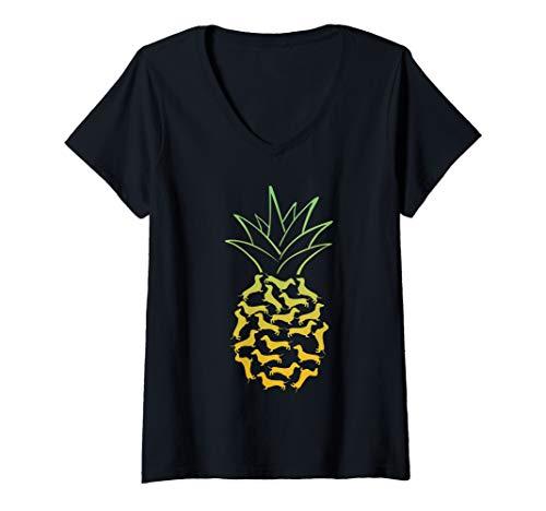 (Womens Funny Pineapple Loves Dachshund Dog Gift V-Neck T-Shirt)