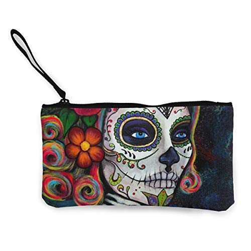 Sugar Skull Candy Womens Canvas Coin Purse Mini Change Wallet Pouch-Card Holder Phone Wallet Storage Bag,Pencil Pen Case]()