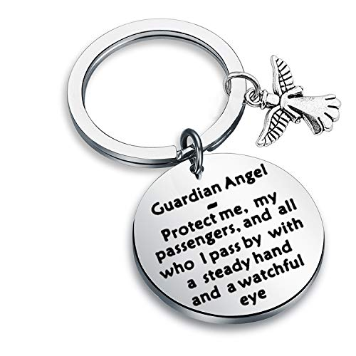 FEELMEM Inspirational Gifts Angel Charm Keychain Guardian Angel - Protect Me for Family Friend (Silver-Key) (Guardian Angel Charms For Men)