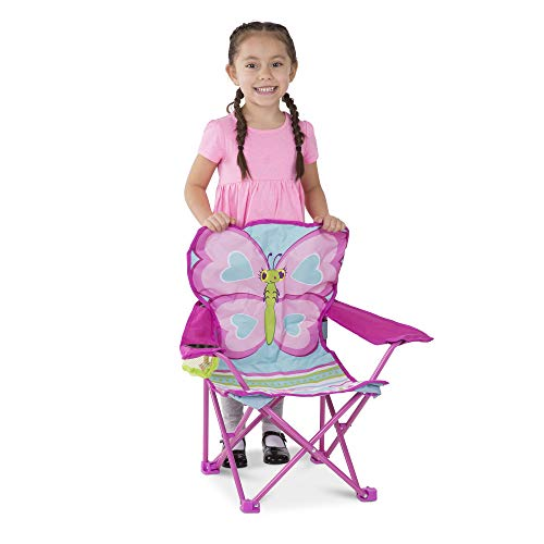 Melissa & Doug Cutie Pie Butterfly Camp Chair (Easy to Open, Handy Cup Holder, Cleanable Materials, Carrying Bag, Great Gift for Girls and Boys - Best for 3, 4, and 5 Year Olds),Multi