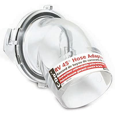 Camco Clear 45 Degree Sewer Hose Adapter Fitting - See Through Adapter Allows You to See When Your RV Sewer Hose is Clean |Break Resistant and Easy to Install - (39432): Automotive
