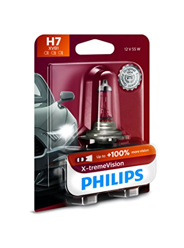 Philips H7 X-tremeVision Upgrade Headlight Bulb with up to 100% More Vision, 1 Pack