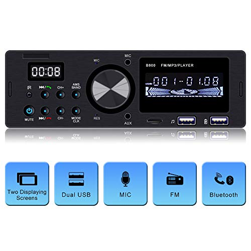 Ironpeas Car Stereo Receiver with Bluetooth, Single Din Univeral Car Radio,USB/TF Slot/FM/WMA/MP3 Player,Wireless Remote Control Included