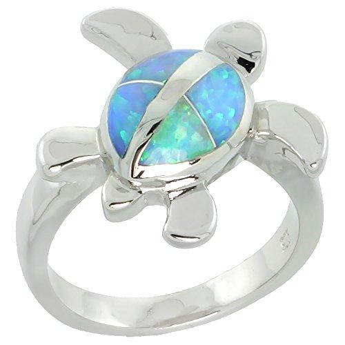 Sterling Silver Blue Synthetic Opal Hawaiian Honu Turtle Ring for Women 5/8 inch size 8