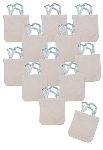 Undecorated Natural Canvas Tote Bags (1 Dozen) - Bulk [Toy] by Fun Express