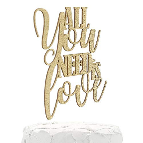 NANASUKO Engagement/Wedding Cake Topper - All you need is love - double sided glitter - Premium quality Made in USA