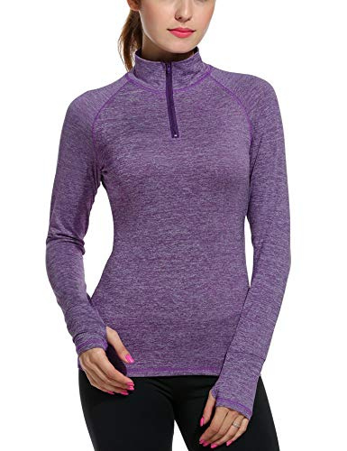 ELESOL Women's Long Sleeve Workout Tee Running Gym Sports T-Shirt Fast Dry Purple M