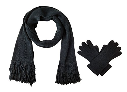 - Bruceriver Women's Knit Scarf & Glove Set Cashmere Feel and Cable Design (Black Touchscreen)