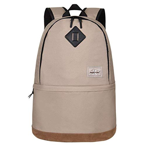 HEXIN Grey Water Repellent Canvas Collapsible Rucksack 15 inch Computer Bag Pack