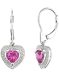 Created Pink Sapphire Dangling Heart Earrings 2.0 Carat (ctw) in Sterling Silver
