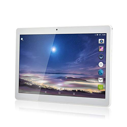 """YIERA 10 inch Android 7.0 Tablet Unlocked Pad with Dual SIM Card Slot 10.1"""" IPS Screen 4GB RAM 64GB ROM 3G Phablet Built-in Bluetooth WiFi GPS Tablets (Metallic Silver)"""