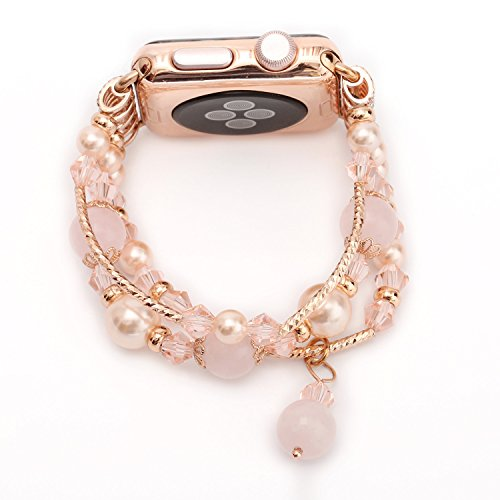 Band for Apple Watch, Fashion Agate Beads Pearl Wristband Strap Bracelet Unique Polishing Process Replacement Band For iWatch Apple Watch Series 1st 2nd 3rd (Pink (01 Fashion Watch)