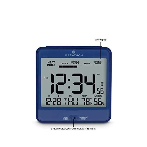 Marathon CL030054BL Atomic Desk Clock, with Backlight, Heat & Comfort Index - Batteries Included - HEAT & COMFORT INDEX: Choose between a convenient, easy to read comfort or heat index LARGE DISPLAY: The large, highly legible display features the time, day, date, temperature, humidity and either the comfort or heat index BACKLIGHT: Pressing the SNOOZE/LIGHT button triggers an amber backlight - clocks, bedroom-decor, bedroom - 41usFBqfAOL. SS570  -