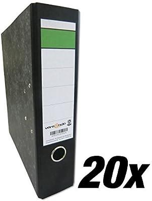 Versando - Lote de 20 archivadores de anillas con solapas en color mármol negro y barra verde, A4, 80m: Amazon.es: Oficina y papelería