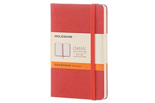 Moleskine Classic Notebook, Pocket, Ruled, Coral Orange, Hard Cover (8051272893571)