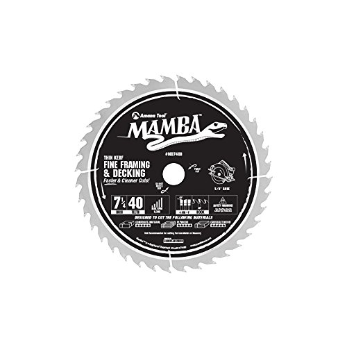 Amana Tool MD7400 Carbide Tipped Thin Kerf Fine Framing and Decking Mamba Contractor Series 7-1/4 Inch D x 40T, 4 ATB+F, 20 Deg, 5/8 Bore with Diamond Knockout Circular Saw Blade