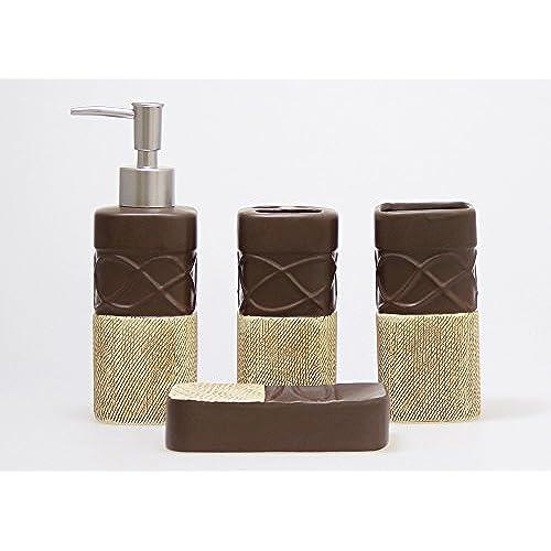 Modern  Piece Ceramic Bathroom Accessory Set Chocolate Brown