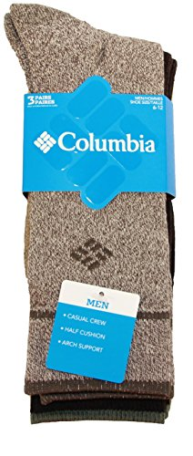 Columbia Men's Cotton Crew, Khaki/Brown, 10-13 Sock Size (Shoe Size 6-12) 3 - Show Socks Cushion
