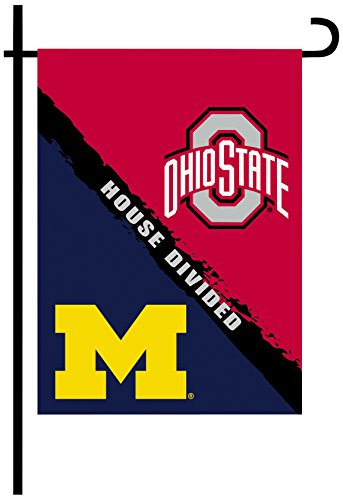 NCAA Ohio State Buckeyes 2-Sided Rivalry House Divided Garden Flag, One Size, Team Color Rivalry House Flag