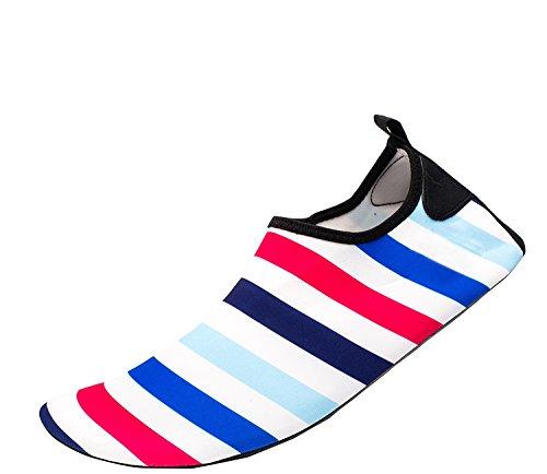 Himal Wasserschuhe Für Frauen Männer Wasser Socken Wasserdichte Aqua Socken Schwimmen Schuhe Für Beach Volleyball Sport Übung Schuhe Aktive Schuhe Erwachsene G4 Bunte Streifen