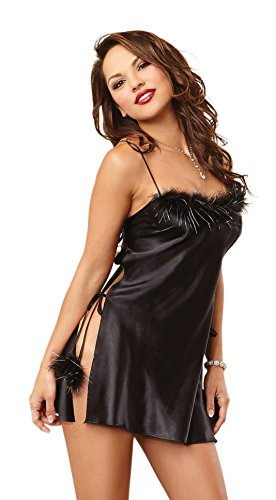 Dreamgirl Women's Marabou Trim Toga Chemise, Black, Medium
