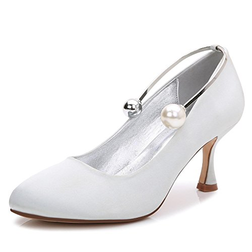 Elegant high shoes Tacones altos Boda De La Boda T-17061-63 Cerrado Toe Beads Evening Party & Wedding Custom Shoes Silver