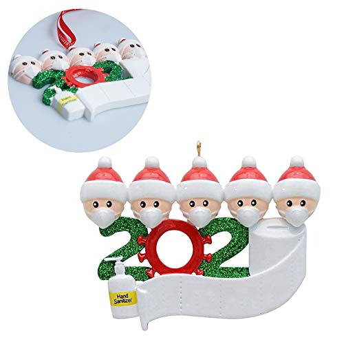 Engmoo 2020 Christmas Ornament Family Personalized with Face Masks Hand Sanitized Christmas Tree Ornament for Family