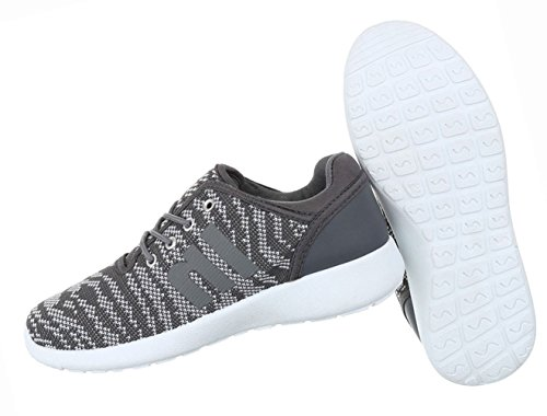 Damen Schuhe Freizeitschuhe Schnürer Sportschuhe Schwarz Grau