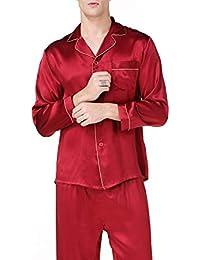 Mens Homewear Long Sleeve Fashion Male Pajama Sets Men Noble Simple Silk Pijamas