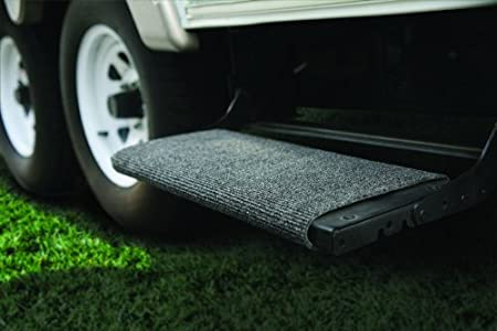Camco Wrap Around Step Rug- Protects Your RV from Unwanted Tracked in Dirt Works on Electrical and Manual RV Steps 42925 Gray