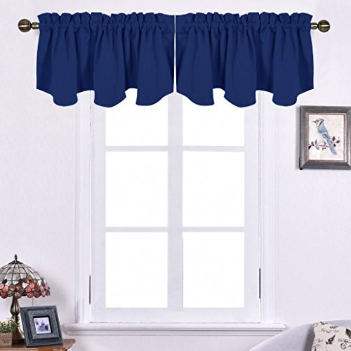 NICETOWN Blackout Valance Tier for Bedroom - 52-inch by 18-inch Scalloped Rod Pocket Window Curtain, Navy Blue, One Piece (Valances Window Bedroom)
