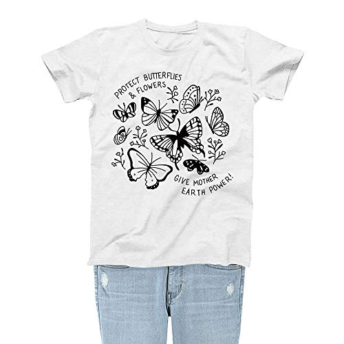 - Rocksir Girl TEES Women Protect Butterflies & Flowers Save The Bees Theme Lovely Summer T-Shirt(S bees4 White)