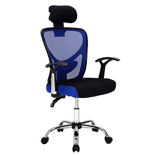 Giantex Executive Office Chair Mesh High Back Home Adjustable Swivel Ergonomic Computer Desk Chair Headrest (Blue) by Giantex