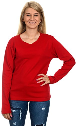 Women's Casual Long Sleeve Shirt (Red, Small)