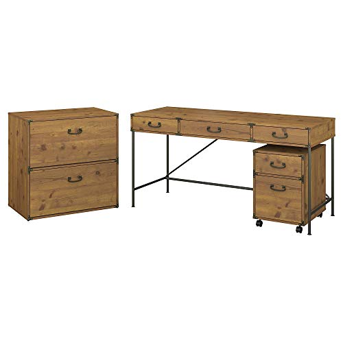 kathy ireland Home by Bush Furniture Ironworks 60W Writing Desk with File Cabinets in Vintage Golden Pine
