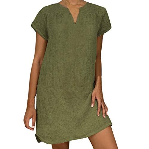 ♡Londony♡ Women's Summer T Shirt Dress for Women Flowy Tunic Dress Stretchy Casual Midi Plus Size Bridesmaid Dress Army Green