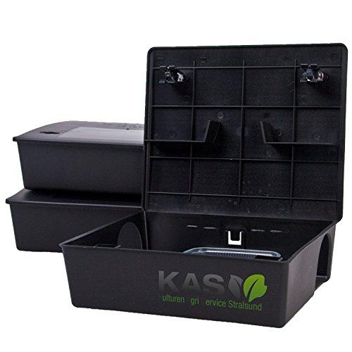 KAS - Köderstation Maxi Köderbox für Rattengift Rattenköder Rattenbekämpfung (3, Schwarz)