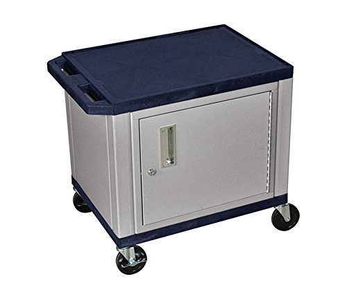 H WILSON WT26ZC4E-N 2-Shelf AV Cart with Cabinet, Tuffy, Navy Blue