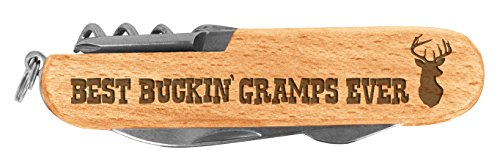 (Fathers Day Gift for Grandpa Buckin Gramps Laser Engraved Wood 6 Function Multitool Pocket Knife)