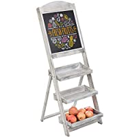 MyGift 3-Tier Graywashed Wood Chalkboard Produce/Retail Display Stand