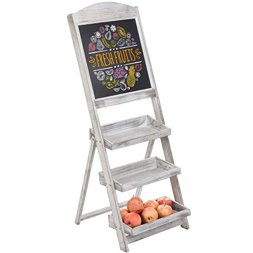 MyGift 3-Tier Graywashed Wood Chalkboard Produce Retail Display Stand
