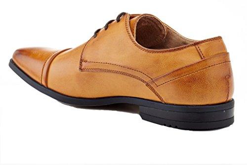 Franco Vanucci Logan Mens Cap-toe Abito Stringato Oxford Scarpe Tan (4025)