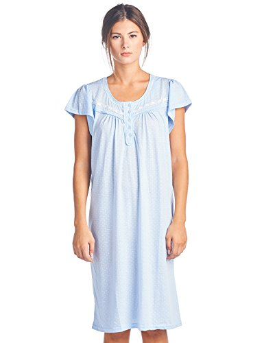 (Casual Nights Women's Short Sleeve Polka Dot and Lace Nightgown - Blue - X-Large )