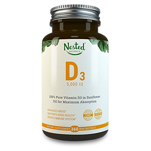 VITAMIN D3 5000 IU | 360 Premium Quality Vegetarian Softgels | Pure Daily D Vitamins Supplement for Men & Women | Made With Ethically Sourced Lanolin | 100% Non GMO, Gluten Free & Soy Free Supplements