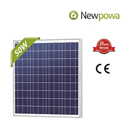 NewPowa High efficiency 50W 12V Poly Solar Panel Module RV Marine Boat Off Grid