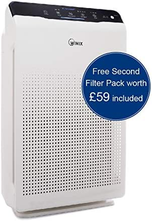 Winix Zero Air Purifier with Extra Free filterset of £59, max Room Size 99m2, HEPA, Carbon Filter, Plasmawave, Against Allergies, Smoke, fine dust, Pollen, UK plug, White, 350 x 207 x 470 mm