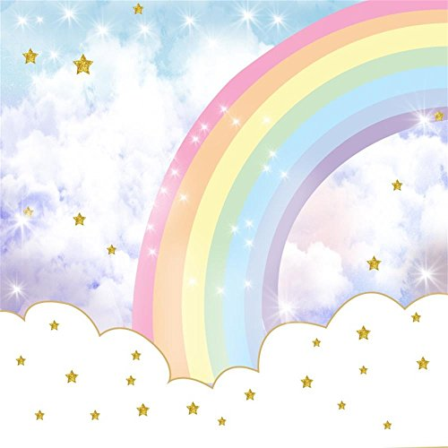 AOFOTO 6x6ft Glitter Star In Rainbow Sky Photography Backdrop Abstract Cloud Cartoon Sweet Birthday Party Decor Background Baby Shower Banner Photo Studio Props Infant Kid Newborn Child Girl Wallpaper