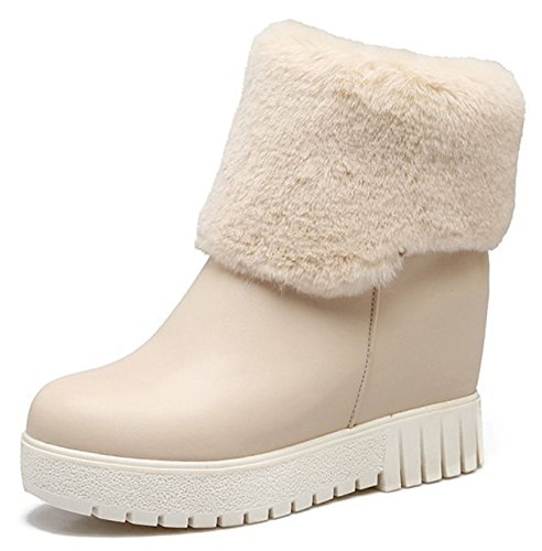 IDIFU Womens Casual Pull On Round Toe High Wedged Hidden Heel Ankle High Booties Beige 5U81s