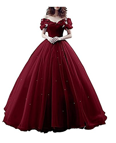 (Chupeng Women's Princess Costume Butterfly Off Shoulder Cinderella Prom Gown Wedding Dresses Evening Gown Quinceanera Dress bur 2)